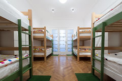 Bunk beds in a hostel room royalty free stock image
