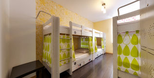 Bunk beds in the hostel Stock Images