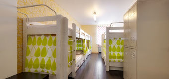 Bunk beds in the hostel Stock Photography