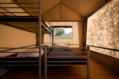 Bunk beds in a tent Royalty Free Stock Photo