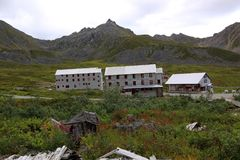 Bunk houses and dining hall on Hatcher Pass mine royalty free stock photo