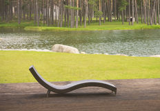 Bunk for relaxing near the lake Stock Photography