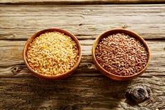 Bunkar av sunt långt korn och röda ris Royaltyfri Bild