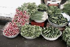 Bunkar och högar av ORGANISKA rå grönsaker - GRÖNSAKER - arkivfoto