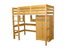 Bunkbed. Wooden bunkbed with wardrobe Stock Photography
