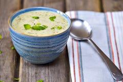 Bunke av broccoli- och för cheddarost soppa royaltyfria foton