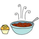 Bunke av chili- och cornbreadmuffin royaltyfri illustrationer
