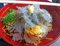 Bunke av den rå japanska ansjovisen med ris eller Shirasu-universitetslärare fotografering för bildbyråer