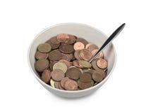 Bunke av europépengar med skeden Arkivfoto