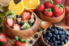 Bunke av Granola med nya frukter royaltyfri fotografi