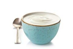 Bunke av grekisk yoghurt Arkivfoto