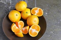 Bunke av guld- tangerin Royaltyfri Bild