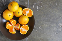 Bunke av guld- tangerin med rum för text Royaltyfria Foton