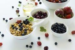 Bunke av hemlagad granola med jordgubben, blåbäret, körsbäret, krusbäret, den svarta vinbäret och honung på vit träbakgrund Arkivbilder