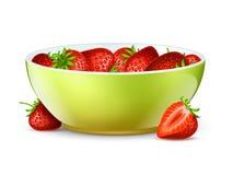 Bunke av jordgubbar Realistisk bär och bunkevektorillustration royaltyfri illustrationer