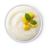 Bunke av mangoyoghurt arkivfoton
