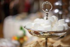 Bunke av marshmallower för chokladspringbrunn på bröllopmottagandet Royaltyfri Fotografi