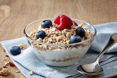 Bunke av mysli och yoghurt Arkivbilder
