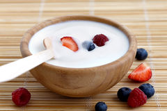 Bunke av yoghurt arkivbilder
