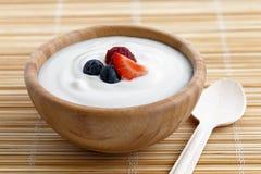 Bunke av yoghurt arkivfoto