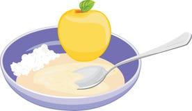Bunke med havremjölet, ostmassa och äpplet Arkivfoton