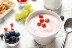 Bunke med smaklig yoghurt och bär royaltyfria foton