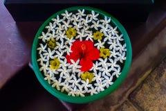Bunke med tropiska blommor arkivbild