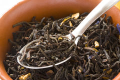 bunkegreenleaves skedar tea Royaltyfri Fotografi