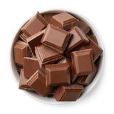 Bunken av mjölkar chokladstycken Royaltyfri Foto