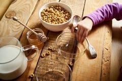 Bunken för ungehandinnehavet med den sunda frukosten med flingahonung mjölkar och honungskopan på tabellen royaltyfria foton