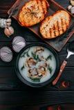 Bunken med champinjonkrämsoppa dekorerade med skivade champignons Fotografering för Bildbyråer