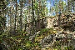 Bunker abbandonato della seconda guerra mondiale in Vaermland, Svezia È chiamato Skans 176 Dypen Immagini Stock