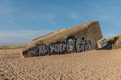 Bunker on the beach Stock Image