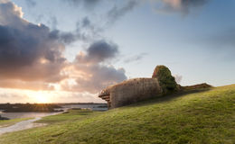 Bunker on the coastline, Gold Beach stock images