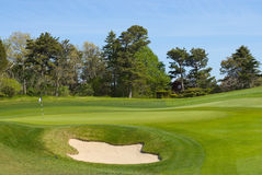 Bunker en zetten groen bij golfcursus Stock Fotografie