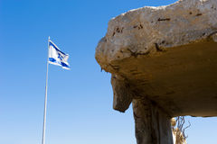 Bunker and flag on Golan Heights Stock Photo