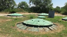 Bunker in forest. Secret waste tank. Military object underground for safety stock video