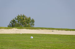 Bunker golf. Two ball of golf near a sand bunker Royalty Free Stock Images