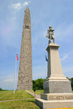 Bunker Hill Memorial with statue of Col. Seth Warner Stock Images