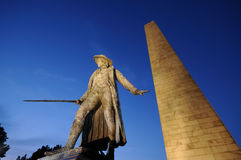 Bunker Hill Monument at Night. The Bunker Hill Monument at night, in Breed's Hill, Boston, Massachusetts. The site of the first major battle of the American Royalty Free Stock Photo