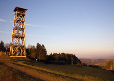 Bunker and lookout tower. In the landscape, artillery fort Stachelberg, Czech Republic Stock Photos