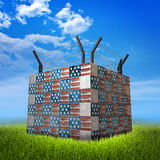Bunker made of bricks showing USA flag and barbed wire. Nature background. Bunker made of bricks showing USA flag and barbed wire. Illustration of Immigration`s Royalty Free Stock Photography