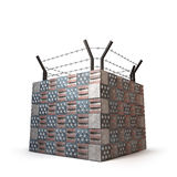 Bunker made of bricks showing USA flag and barbed wire. White background. Bunker made of bricks showing USA flag and barbed wire. Illustration of Immigration`s Stock Image