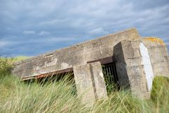 Bunker in normandy. Bunker ruins in Juno Beach, Courseulles sur Mer, Normandy, France stock photography