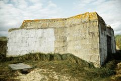 Bunker in normandy. Bunker ruins in Juno Beach, Courseulles sur Mer, Normandy, France royalty free stock images