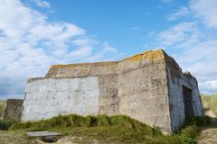 Bunker in normandy. Bunker ruins in Juno Beach, Courseulles sur Mer, Normandy, France royalty free stock photo