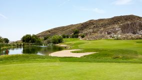 Bunker, Pond and Fairway On Oak Quarry Golf Course, Southern California royalty free stock image