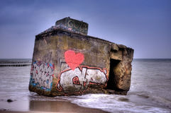 Bunker remains on the Baltic Sea Royalty Free Stock Photography