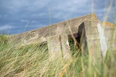 Bunker in normandy. Bunker ruins in Juno Beach, Courseulles sur Mer, Normandy, France stock photos
