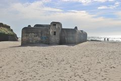 Bunker in the sand: Ruins of an Atlantic Wall Bunker, Denmark, Europe. Stock Photography